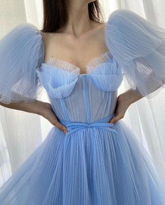 Baby Blue Pleated Gown