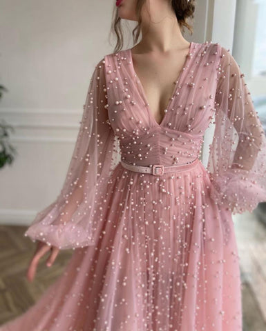 Mimosa Beaded Pink Gown