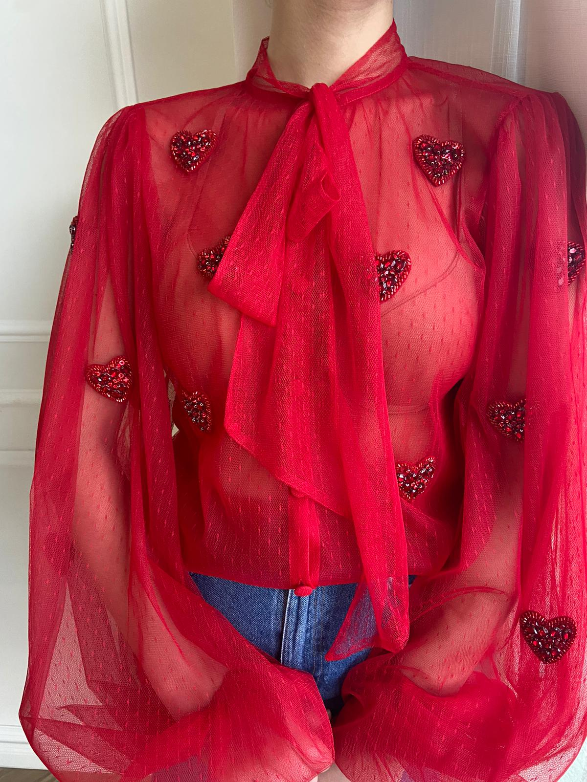 Dotted Hearty Blouse - Teuta Matoshi