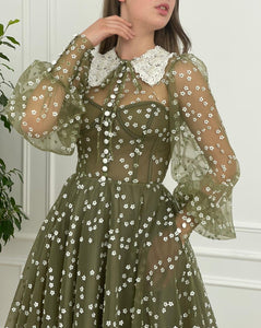 Olive Flowery Gown