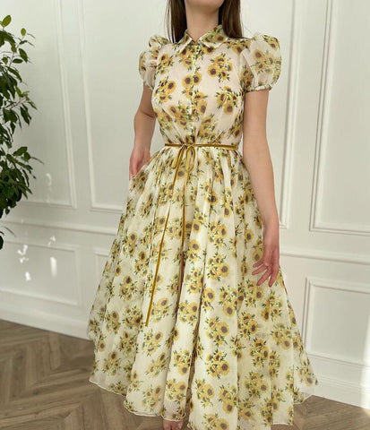 Sunflower Organza Dress - Teuta Matoshi