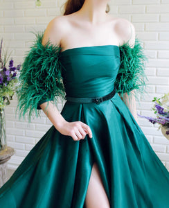 Teal & Feathers Gown