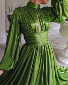 Shiny Olivine Gown