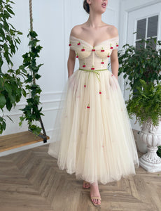 Cherry Ivory Dress - Teuta Matoshi