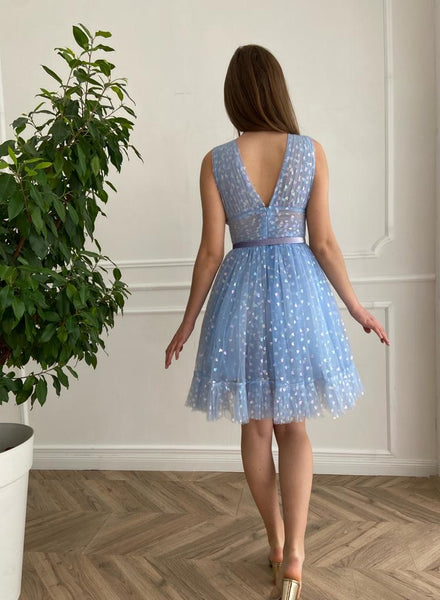 Blue Hearty Mini Dress - Teuta Matoshi