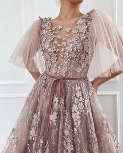 Flower Petals Embroiderd Gown