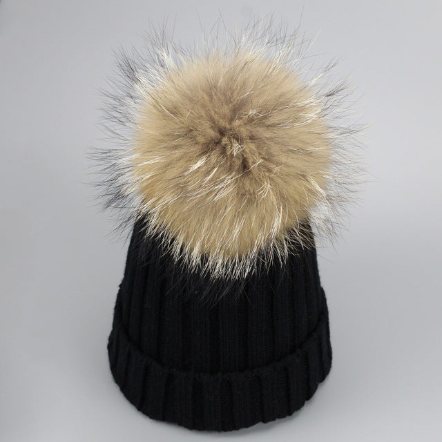 512c122efbe ... Real Fur Winter Hat Raccoon Pom Pom Hat For Women Brand Thick Women Hat  Girls Caps ...