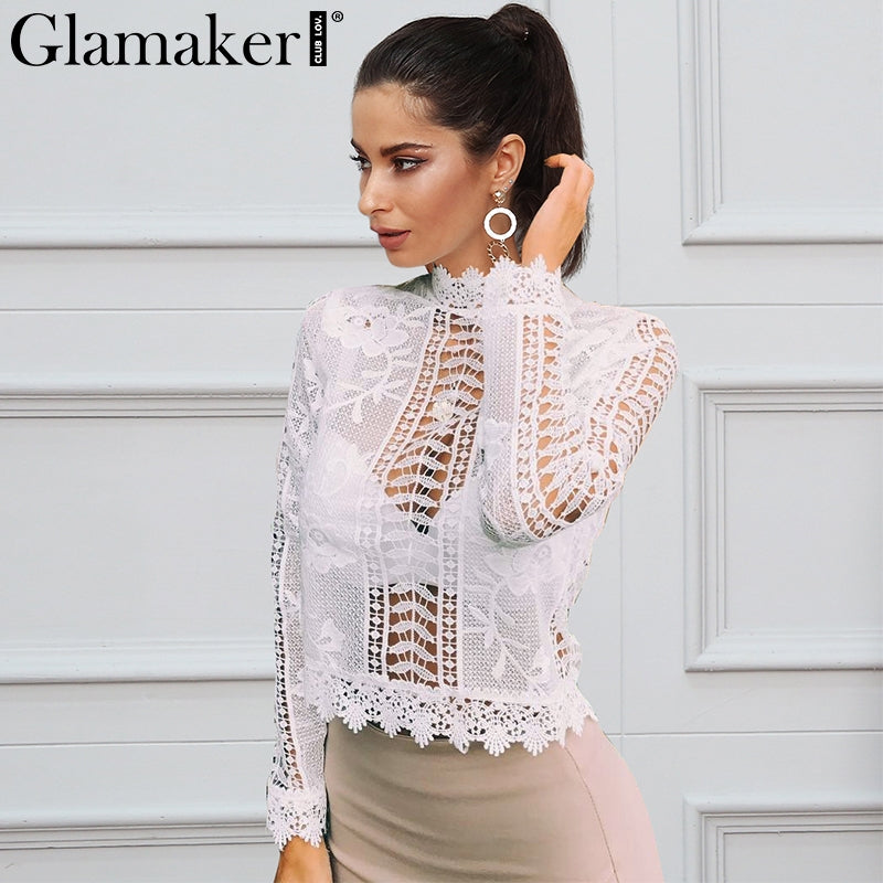 2522f987cd4 Glamaker sexy white lace blouse shirt Women tops elegant hollow out blouse  Summer tops female blouse ...