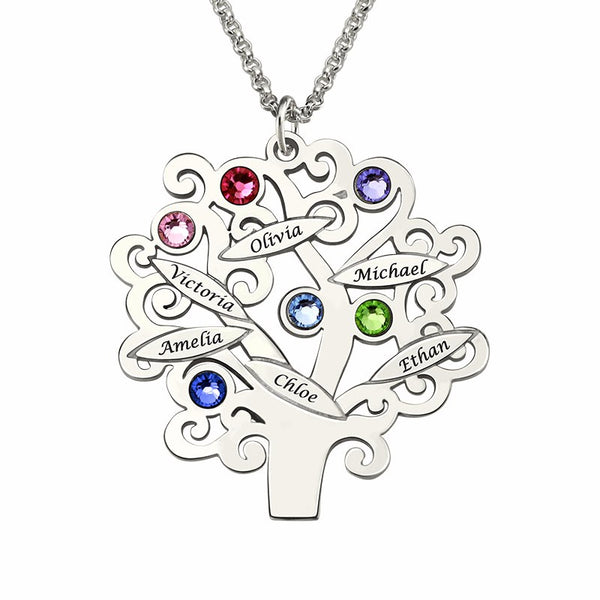 Personalized Family Tree-Design Silver Necklace With Names And Birthstones - Perfect Mother's Day Gift Birthday Anniversary for Mom or Grandmother