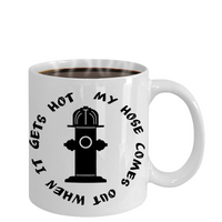 Funny Firefighter Coffee Mug, Color Changing, First Responder Gift, When it gets hot out, Fireman Humor, Firemen cup, Husband, Boyfriend, EMT, Firetruck, Fire Hose - GuysandGirlsGeneral