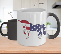 Magic Unicorn 4th of July Patriotic Red white Blue Color Changing Coffee Mug- Unicorn Coffee Tea Mug- I Love Unicorns - I Believe in Unicorns -Gifts for Unicorn Lovers