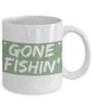 Gone Fishin' Green and White Coffee Mug for The Fisherman - Father's Day Birthday Mug - I Love Fishing Gifts - Gifts for Fisherman Dad or Grandpa - GuysandGirlsGeneral