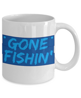 Gone Fishin' Blue and White Coffee Mug for The Fisherman - Father's Day Birthday Mug - I Love Fishing Gifts - Gifts for Fisherman Dad or Grandpa - GuysandGirlsGeneral
