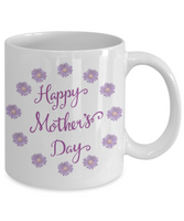 Mother's Day Coffee-Tea White Purple Floral Mug Mom Wife Grandma Gift for Mothers