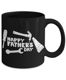 Happy Father's Day Tool Carpenter Construction Contractor Dad Father's Day New Dad Black Coffee Mug Gift for Dads s who Love Tools Construction Worker Gifts Carpenter Dad Gifts