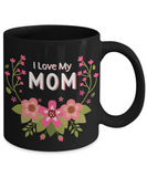 Mother's Day Coffee-Tea Black Floral Mug Mom Wife Birthday Gift Mothers