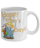 Happy Father's Day Cute Little Boy Fishing Dad Coffee Mug - Father's Day New Dad Cartoon Little Boy Fishing Coffee Mug Gift for Dads - GuysandGirlsGeneral
