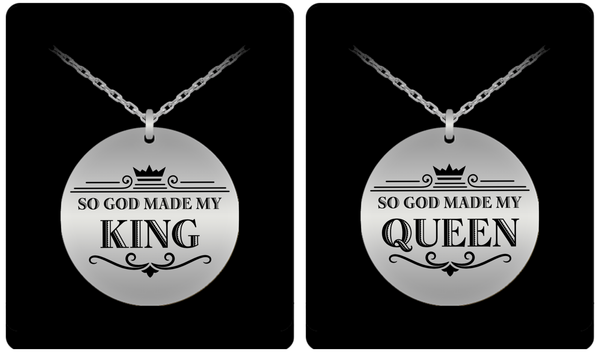 King and Queen Couple Laser (Stainless Steel) Necklace Set- BLACK FRIDAY SALE - GuysandGirlsGeneral