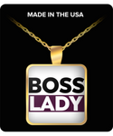 Boss Lady Gold Square Necklace- Lady Boss - Women Empowered Gold Necklace Pendant- Jewelry Gifts for Lady Boss- - GuysandGirlsGeneral