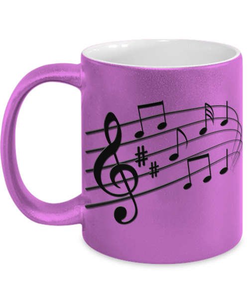 The Perfect Christmas Holiday Metallic Pink Coffee Mug Gift For The Music Lover in Your Life!