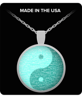 Yin Yang Teal Silver Mandala Meditation Necklace- Om Namaste Mandala Yoga Necklace