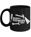 Happy Father's Day Tool Carpenter Construction Contractor Dad Father's Day New Dad Black Coffee Mug Gift for Dads s who Love Tools Construction Worker Gifts Carpenter Dad Gifts - GuysandGirlsGeneral