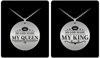King and Queen Couple Laser (Stainless Steel) Necklace Set- BLACK FRIDAY SALE + FREE S&H