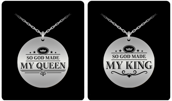 King and Queen Couple Laser (Stainless Steel) Necklace Set- BLACK FRIDAY SALE + FREE S&H - GuysandGirlsGeneral