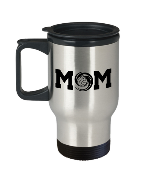 Volleyball Swish Mom Travel Coffee Mug -My Heart is On That Court Daughter Son Gift
