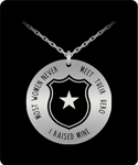 Proud Police Mom Stainless Steel 18K Gold Pendant- Most People Never Meet Their Hero- I Raised Mine- Police Mom Necklace- Gift for Police Mom