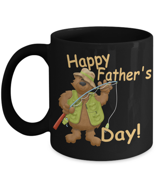 Happy Father's Day Cute Fishing Bear Dad Black Coffee Mug - Father's Day New Dad Cartoon Bear Fishing Coffee Mug Gift for Dads