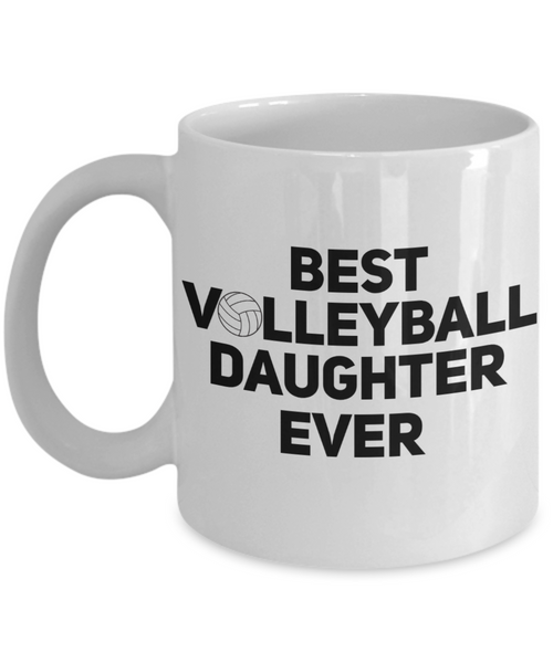 Volleyball Daughter Coffee Mug -My Heart is On That Court Volleyball Mom Dad Father-11Oz 15OZ  Cup