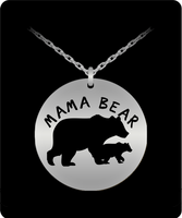 Mama Bear Stainless Steel Round Pendant Necklace- Mama Bear Necklace - Mama Bear Gifts