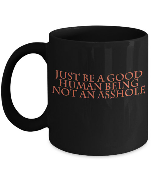 Be a Good Human Being Not an Asshole Funny Coffee Mug- Great Christmas gift! - GuysandGirlsGeneral