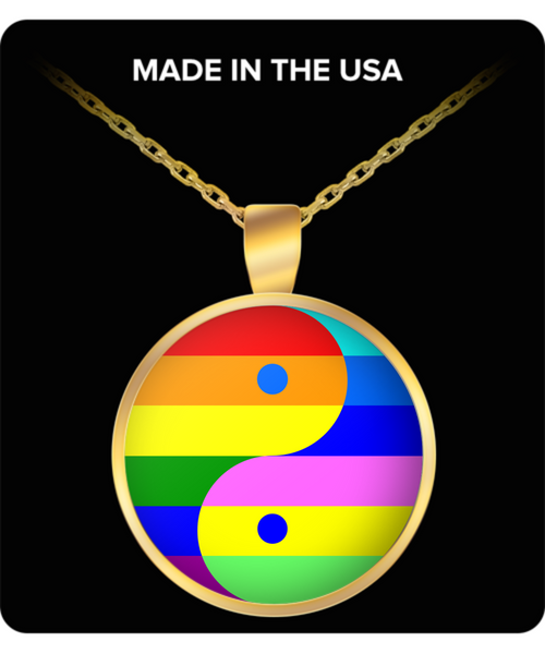 Rainbow Pride LGBTQ Yin Yang Gold Meditation Necklace- Om Namaste Mandala Yoga Necklace