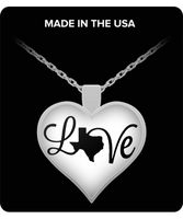 Texas Love Strong Silver Heart Pendant Necklace for Texas Lovers