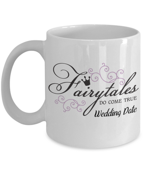 Newlywed Fairytale Personalized Coffee Mug Customized Wedding Date Fairytales Do Come True NewBride
