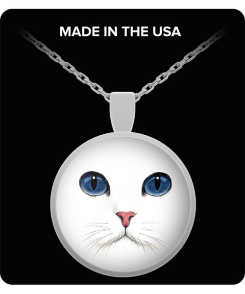 Gorgeous White Cat Blue Eyes Silver Round Pendant- Cat Lovers Gift Idea- White Cat Jewelry - GuysandGirlsGeneral