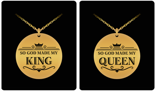 King and Queen Couple Laser (Gold) Necklace Set- BLACK FRIDAY SALE - GuysandGirlsGeneral