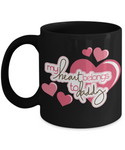 My Heart Belongs To Daddy- Daughter to Daddy Black Coffee Mug- Birthday Father's Day Gift Dad from Daughter