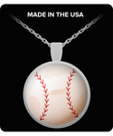 Baseball/Softball Round Silver Pendant Gift for Baseball Lovers