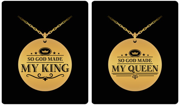 King and Queen Couple Laser (Gold) Necklace Set- BLACK FRIDAY SALE