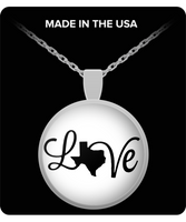 Texas Love Strong Silver Pendant Necklace for Texas Lovers