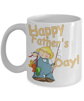 Happy Father's Day Cute Little Boy Fishing Dad Coffee Mug - Father's Day New Dad Cartoon Little Boy Fishing Coffee Mug Gift for Dads