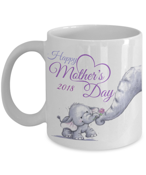 Happy Mother's Day Limited Edition Mother Baby Elephant Keepsake Purple & White Coffee Mug- Mama Baby Elephant Coffee Mug Mother's Day - GuysandGirlsGeneral