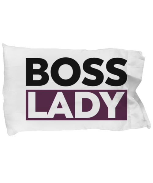 Boss Lady Pillowcase- Lady Boss - Purple and Black White Pillowcase- Women Empowered Pillowcase- Gifts for Lady Boss- - GuysandGirlsGeneral
