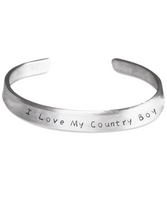 I Love My Country Boy Stamped Bracelet- Love Country