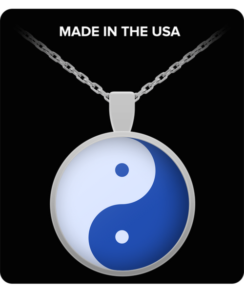 Blue Yin Yang Silver Meditation Necklace- Om Namaste Mandala Yoga Necklace