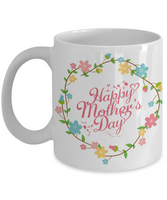 Mother's Day Coffee-Tea White Floral Mug Mom Wife Grandma Gift for Mothers