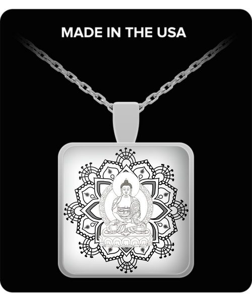 Buddha Lotus Mandala- Peace I Am- Om Meditation Yoga Necklace